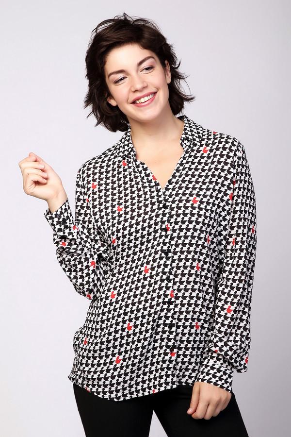 Блузa SteilmannБлузы<br>Стильная женская блуза Steilmann белого цвета с черными и красными деталями. Данная модель была сделана из вискозы. Это изделие является демисезонным. Блуза свободного кроя и с длинными рукавами. Дополнена мелким орнаментом с красными вкраплениями. Можно носить навыпуск или заправлять. Лучше всего сочетается с узкими юбками.<br><br>Размер RU: 44<br>Пол: Женский<br>Возраст: Взрослый<br>Материал: вискоза 100%<br>Цвет: Разноцветный
