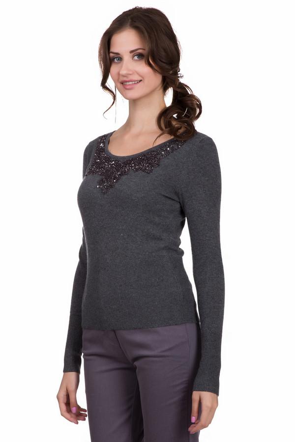 Пуловер Just ValeriПуловеры<br>Стильный женский пуловер Just Valeri темно-серого цвета с серебристыми элементами. Это изделие было выполнено из хлопка, вискозы, шерсти, кашемира и нейлона. Данная модель предназначена для демисезонного периода. Пуловер сидит по фигуре и с длинными рукавами. Дополнен серебристыми камнями.<br><br>Размер RU: 48<br>Пол: Женский<br>Возраст: Взрослый<br>Материал: хлопок 18%, вискоза 37%, шерсть 18%, кашемир 4%, нейлон 23%<br>Цвет: Чёрный