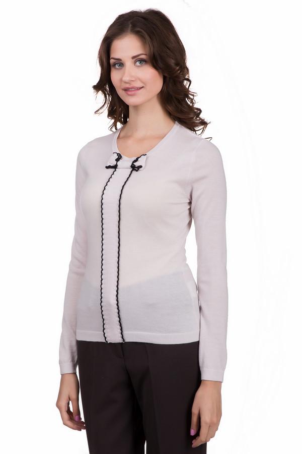 Пуловер Just ValeriПуловеры<br>Оригинальный женский пуловер Just Valeri белого цвета с черными элементами. Это изделие было выполнено из шерсти. Данная модель предназначена для холодной зимней погоды. Пуловер сидит по фигуре, с длинными рукавами. На фронтальной части пуловер дополнен вставкой с бантом с контрастной оторочкой черного цвета.<br><br>Размер RU: 52<br>Пол: Женский<br>Возраст: Взрослый<br>Материал: шерсть 100%<br>Цвет: Чёрный