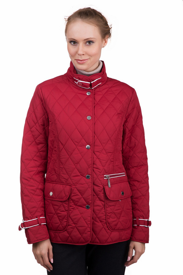Куртка PezzoКуртки<br>Стильная женская куртка Pezzo красного цвета с белыми элементами. Это изделие было выполнено из полиэстера. Данная модель предназначена для демисезонного периода. Куртка короткая. Дополнена боковыми карманами. Застегивается с помощью маленьких металлических кнопок, молнии и ремешка на вороте и на рукавах. Будет ярким акцентом в образе.<br><br>Размер RU: 42<br>Пол: Женский<br>Возраст: Взрослый<br>Материал: полиэстер 100%<br>Цвет: Белый