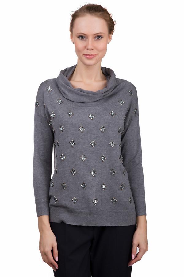 Пуловер Just ValeriПуловеры<br>Стильный женский пуловер Just Valeri серого цвета. Это изделие было выполнено из вискозы. Данная модель предназначена для демисезонного периода. Пуловер свободного кроя и с длинными рукавами. Дополнен крупными серебристыми камнями и объемным воротом. Отлично сочетается с классическими брюками и широкими юбками средней длины.<br><br>Размер RU: 46<br>Пол: Женский<br>Возраст: Взрослый<br>Материал: вискоза 100%<br>Цвет: Серый