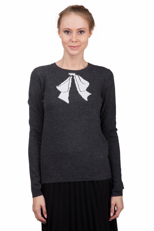 Пуловер PezzoПуловеры<br>Интересный женский пуловер Pezzo серого цвета с белыми элементами. Это изделие было изготовлено из вискозы, полиамида, шерсти, хлопка и кашемира. Данная модель предназначена для зимнего периода. Пуловер свободного кроя и с длинными рукавами. Дополнен белым вязанным рисунком банта возле ворота. Лучше всего будет смотреться с однотонной темной одеждой.<br><br>Размер RU: 44<br>Пол: Женский<br>Возраст: Взрослый<br>Материал: вискоза 33%, полиамид 23%, шерсть 20%, хлопок 20%, кашемир 4%<br>Цвет: Белый