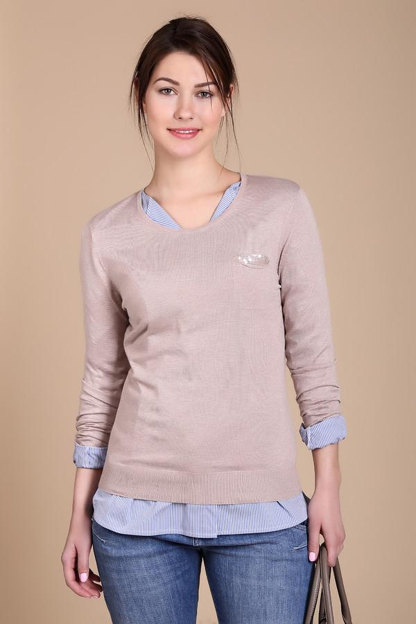 Пуловер PezzoПуловеры<br>Нежный женский пуловер Pezzo бежевого цвета. Модель выполнена из сочетания вискозы и нейлона. Наиболее комфортно в нем будет весной или осенью. Округлый вырез горловины открывает линии шеи. Изделие дополнено небольшим нагрудным кармашком. Хорошо будет смотрится в качестве неформальной составляющей стиля кэжуал.<br><br>Размер RU: 54<br>Пол: Женский<br>Возраст: Взрослый<br>Материал: вискоза 70%, нейлон 30%<br>Цвет: Бежевый