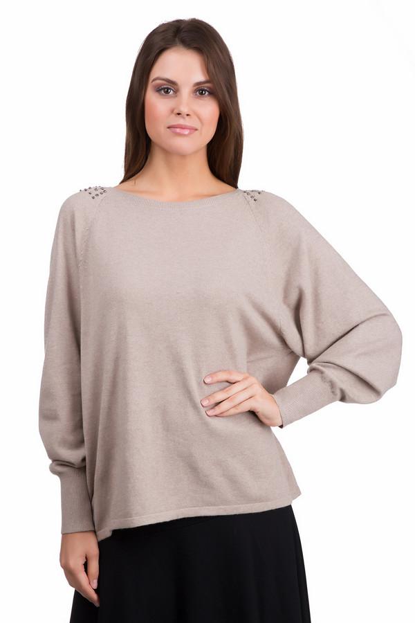 Пуловер PezzoПуловеры<br>Оригинальный женский пуловер Pezzo бежевого цвета. Это изделие было выполнено из вискозы, полиамида, шерсти, хлопка и кашемира. Данная модель предназначена для демисезонного периода. Пуловер сделан по форме летучая мышь. Дополнен резинками на рукавах и серебристыми камнями на плечах. Хорошо сочетается с юбками разных фасонов.<br><br>Размер RU: 52<br>Пол: Женский<br>Возраст: Взрослый<br>Материал: вискоза 33%, полиамид 23%, шерсть 20%, хлопок 20%, кашемир 4%<br>Цвет: Бежевый