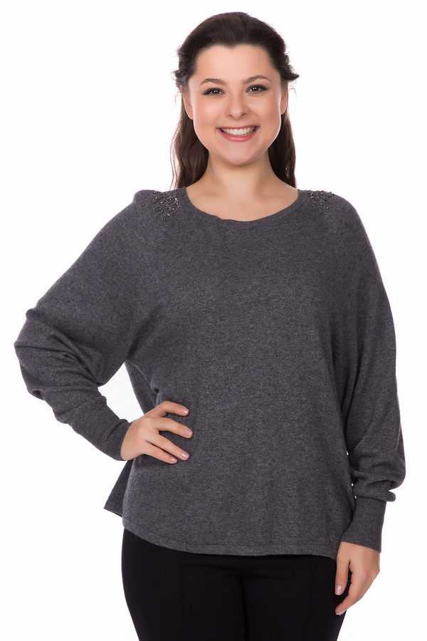 Пуловер PezzoПуловеры<br>Оригинальный женский пуловер Pezzo серого цвета. Это изделие было выполнено из вискозы, полиамида, шерсти, хлопка и кашемира. Данная модель предназначена для демисезонного периода. Пуловер сделан по форме летучая мышь. Дополнен резинками на рукавах и серебристыми камнями на плечах. Хорошо сочетается с юбками разных фасонов.<br><br>Размер RU: 48<br>Пол: Женский<br>Возраст: Взрослый<br>Материал: вискоза 33%, полиамид 23%, шерсть 20%, хлопок 20%, кашемир 4%<br>Цвет: Серый