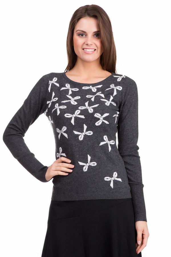 Пуловер PezzoПуловеры<br>Оригинальный женский пуловер Pezzo темно-серого цвета с серебристыми и белыми деталями. Это изделие было выполнено из вискозы, полиамида, шерсти, хлопка и кашемира. Данная модель предназначена для демисезонного периода Изделие дополнено воротником-лодочка и длинными рукавами. Декорирован вязанным узором в виде множества белых бантиков украшенных серебристыми стразами.<br><br>Размер RU: 48<br>Пол: Женский<br>Возраст: Взрослый<br>Материал: вискоза 33%, полиамид 23%, шерсть 20%, хлопок 20%, кашемир 4%<br>Цвет: Разноцветный