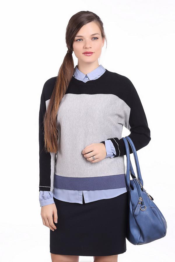 Пуловер PezzoПуловеры<br>Стильный женский пуловер Pezzo серого цвета с чёрными и синими деталями. Эта модель была сделана из хлопка, ангоры, кашемира и нейлона. Пуловер свободного кроя и с длинными рукавами. Дополнен синей полосой внизу и черной сверху. Можно носить как с узкими юбками, так и джинсами или брюками.<br><br>Размер RU: 46<br>Пол: Женский<br>Возраст: Взрослый<br>Материал: хлопок 55%, ангора 5%, кашемир 3%, нейлон 37%<br>Цвет: Разноцветный