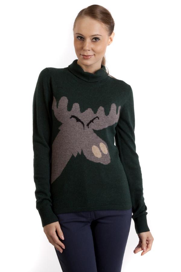 Пуловер Just ValeriПуловеры<br>Оригинальный темно-зеленый пуловер Just Valeri приталенного фасона. Изделие дополнено: модным вывязанным рисунком в виде лося, воротником под горло и длинными рукавами с трикотажными манжетами.<br><br>Размер RU: 52<br>Пол: Женский<br>Возраст: Взрослый<br>Материал: вискоза 33%, хлопок 18%, шерсть 18%, кашемир 4%, нейлон 23%, ангора 4%<br>Цвет: Зелёный