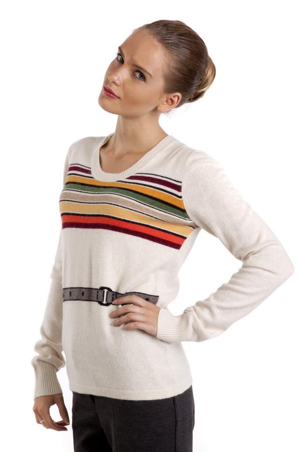 Пуловер Just ValeriПуловеры<br>Белый пуловер Just Valeri прямого кроя с ярким вязанным рисунком в виде горизонтальных разноцветных полосок и ремня на талии. Изделие дополнено: круглым вырезом и длинными рукавами. Ворот, манжеты оформлены трикотажной резинкой.<br><br>Размер RU: 48<br>Пол: Женский<br>Возраст: Взрослый<br>Материал: вискоза 33%, хлопок 18%, шерсть 18%, кашемир 4%, нейлон 23%, ангора 4%<br>Цвет: Белый