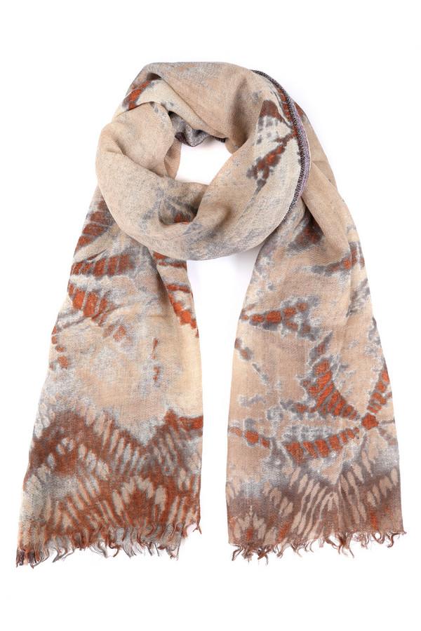 Шарф PassigattiШарфы<br>Оригинальный женский шарф Passigatti бежевого цвета с серыми и оранжевыми деталями. Это изделие было выполнено из шерсти, полиэстера и полиакрила. Данная модель предназначена для демисезонного периода. Дополнен интересным разноцветным рисунком. Отлично дополнит осенний романтичный образ. Хорошо будет смотреться с одеждой коричневого или оранжевого цвета.<br><br>Размер RU: один размер<br>Пол: Женский<br>Возраст: Взрослый<br>Материал: шерсть 97%, полиэстер 1%, полиакрил 2%<br>Цвет: Разноцветный