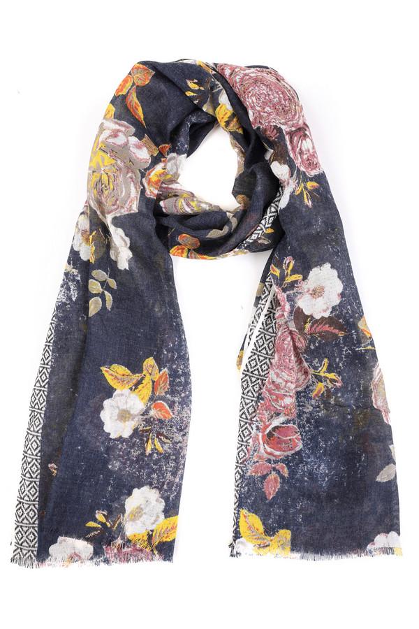 Шарф PassigattiШарфы<br>Стильный женский шарф Passigatti синего цвета с серыми, белыми, розовыми и жёлтыми деталями. Данное изделие было выполнено из шерсти. Эта модель предназначена для демисезонного периода. Аксессуар дополнен разноцветным цветочным рисунком и черно-белой вставкой. Отлично будет смотреться с однотонной темной одеждой.<br><br>Размер RU: один размер<br>Пол: Женский<br>Возраст: Взрослый<br>Материал: шерсть 100%<br>Цвет: Разноцветный