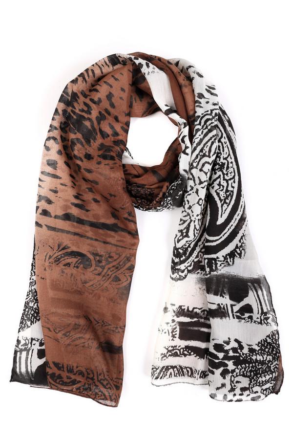 Шарф PassigattiШарфы<br>Оригинальный женский шарф Passigatti чёрного, белого и коричневого цветов. Это изделие было выполнено из полиэстера. Данная модель предназначена для демисезонного периода. Аксессуар дополнен разноцветным рисунком. Отлично дополнит простой повседневный образ. Может выполнять функцию шали или накидки.<br><br>Размер RU: один размер<br>Пол: Женский<br>Возраст: Взрослый<br>Материал: полиэстер 100%<br>Цвет: Разноцветный