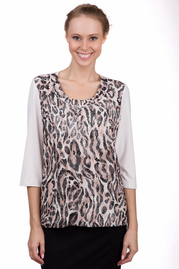 Блузa LebekБлузы<br>Стильная женская блуза Lebek бежевого цвета с чёрными и розовыми деталями. Это изделие было выполнено из эластана и вискозы. Данная модель предназначена для демисезонного периода. Блуза свободного кроя и с укороченными рукавами. Дополнена леопардовым рисунком. Можно носить навыпуск или в заправленном варианте.<br><br>Размер RU: 52<br>Пол: Женский<br>Возраст: Взрослый<br>Материал: эластан 4%, вискоза 96%<br>Цвет: Разноцветный