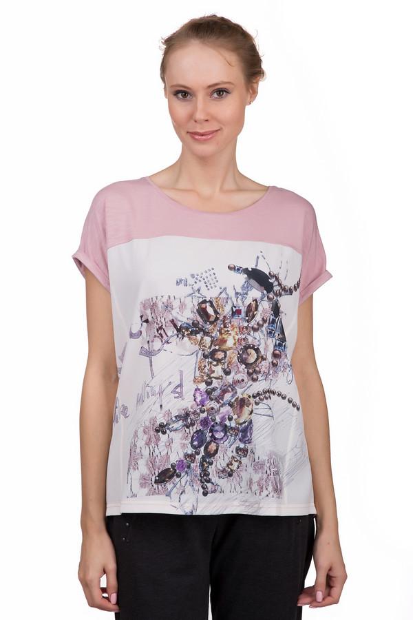 Футболка LebekФутболки<br>Стильная женская футболка Lebek розового цвета с белыми, бежевыми, коричневыми, голубыми, синими, сиреневыми и фиолетовыми деталями. Это изделие было выполнено из эластана и вискозы. Данная модель предназначена для теплой летней погоды. Футболка свободного кроя. Дополнена ярким разноцветным рисунком. Задняя часть длиннее передней. Можно носить в заправленном варианте и навыпуск.<br><br>Размер RU: 46<br>Пол: Женский<br>Возраст: Взрослый<br>Материал: эластан 5%, вискоза 95%<br>Цвет: Разноцветный