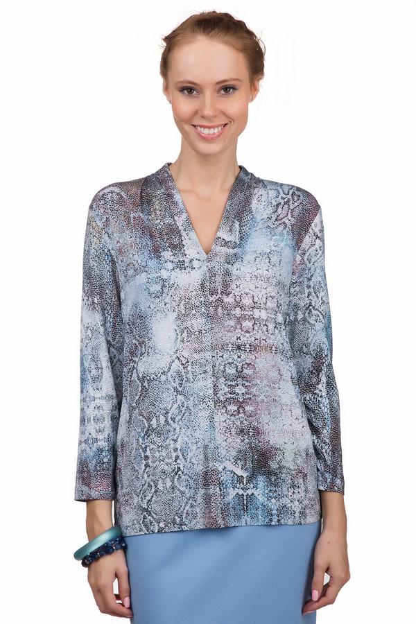 Блузa ErfoБлузы<br>Стильная женская блуза Erfo бежевого цвета с чёрными, бордовыми, оранжевыми, коричневыми, голубыми и синими деталями. Это изделие было выполнено из натурального хлопка. Данная модель предназначена для демисезонного периода. Блуза свободного кроя и с длинными рукавами. Дополнена рисунком имитирующим змеиную кожу. Можно носить навыпуск и в заправленном виде.<br><br>Размер RU: 46<br>Пол: Женский<br>Возраст: Взрослый<br>Материал: эластан 4%, вискоза 96%<br>Цвет: Разноцветный