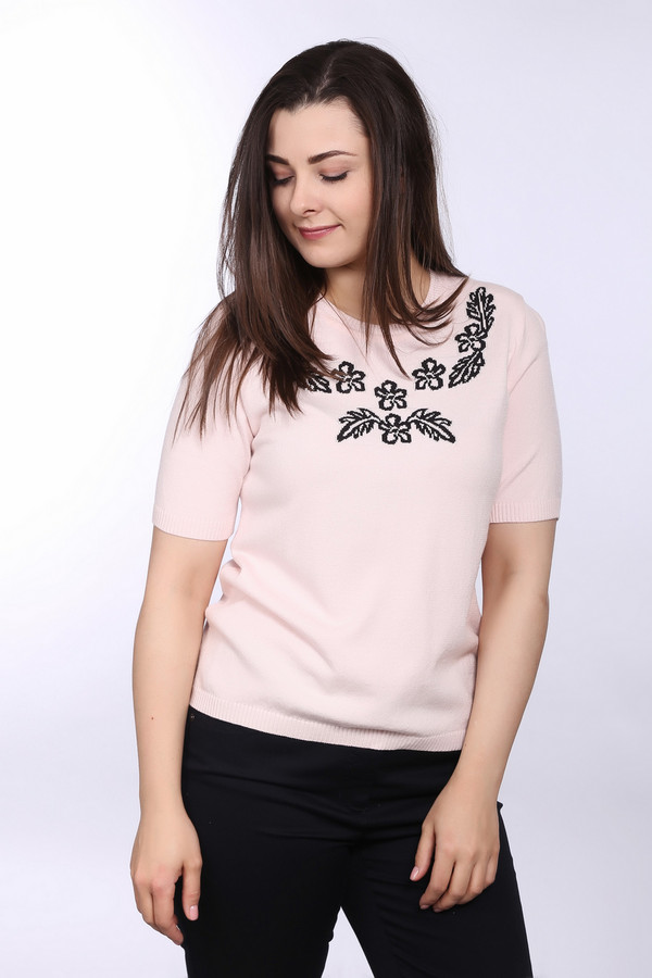 Пуловер Eugen KleinПуловеры<br>Модный женский пуловер Eugen Klein бледно-розового цвета с черными деталями. Данное изделие было сделано из модала, полиакрила и эластана. Такая модель подходит для весны и осени. Пуловер не облегает фигуру. Рукава сильно укорочены. Дополнен изображением цветов возле ворота. Хорошо смотрится с юбками разного фасона.<br><br>Размер RU: 52<br>Пол: Женский<br>Возраст: Взрослый<br>Материал: эластан 14%, полиакрил 40%, модал 46%<br>Цвет: Чёрный