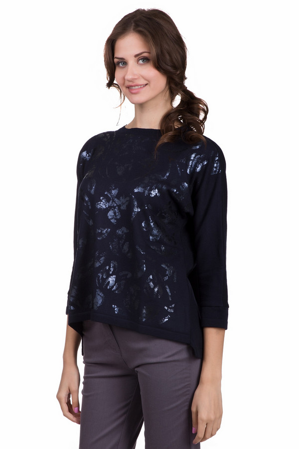 Пуловер Eugen KleinПуловеры<br>Оригинальный женский пуловер Eugen Klein синего цвета. Данное изделие изготовлено из эластана, полиакрила и модала. Такая вещь создана для весны и осени. Рукава пуловера слегка укороченные. Не облегает фигуру. Украшен яркими вкраплениями. Спинка немного длиннее передней части. Хорошее решение для праздничного мероприятия.<br><br>Размер RU: 46<br>Пол: Женский<br>Возраст: Взрослый<br>Материал: эластан 14%, полиакрил 40%, модал 46%<br>Цвет: Синий