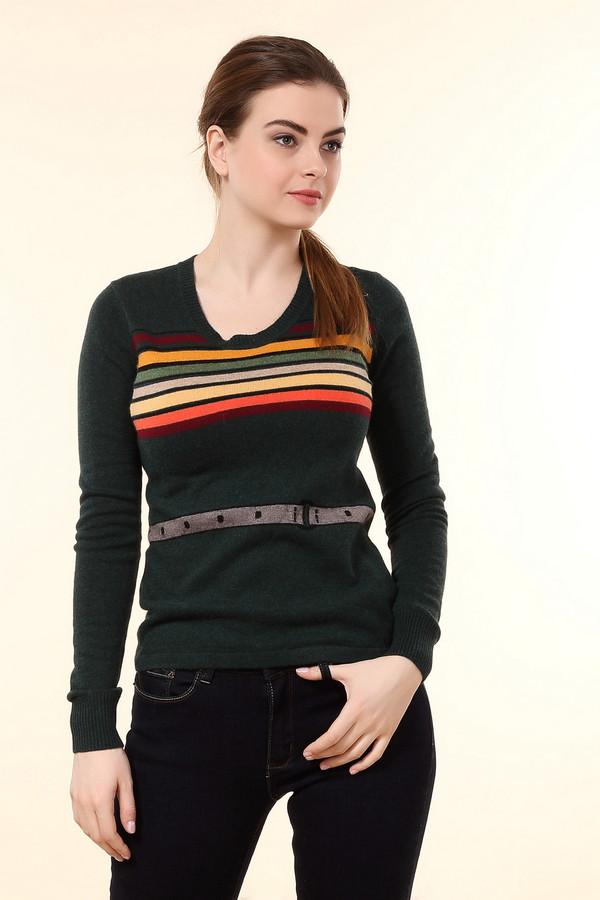 Пуловер Just ValeriПуловеры<br>Темно-зеленый пуловер Just Valeri прямого кроя с ярким вязанным рисунком в виде горизонтальных разноцветных полосок и ремня на талии. Изделие дополнено: круглым вырезом и длинными рукавами. Ворот, манжеты оформлены трикотажной резинкой.<br><br>Размер RU: 42<br>Пол: Женский<br>Возраст: Взрослый<br>Материал: вискоза 33%, хлопок 18%, шерсть 18%, кашемир 4%, нейлон 23%, ангора 4%<br>Цвет: Зелёный