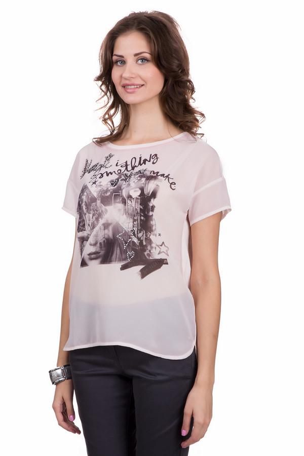 Футболка OuiФутболки<br>Стильная женская футболка Oui белого цвета с черными, серыми и серебристыми элементами. Модель была сделана из хлопка и модала. Данное изделие необходимо носить летом. Футболка свободного кроя. Дополнена рисунком по центру с серебристыми камнями и разрезами по бокам. Смотрится стильно и молодежно. Отличный вариант для похода на концерт или вечеринку.<br><br>Размер RU: 40<br>Пол: Женский<br>Возраст: Взрослый<br>Материал: хлопок 60%, модал 40%<br>Цвет: Разноцветный
