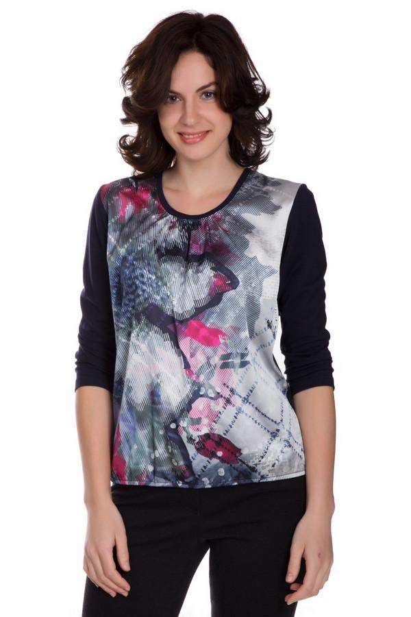 Блузa Frank WalderБлузы<br>Яркая женская блуза Frank Walder синего цвета с черными, серыми серебристыми, розовыми и фиолетовыми элементами. Данное изделие состоит из хлопка, модала и эластана. Эта модель предназначена для весны или осени. Блуза свободного кроя. Рукава укороченные. Украшена разноцветным рисунком в центре. Придаст образу яркости.<br><br>Размер RU: 44<br>Пол: Женский<br>Возраст: Взрослый<br>Материал: эластан 5%, хлопок 48%, модал 47%<br>Цвет: Разноцветный