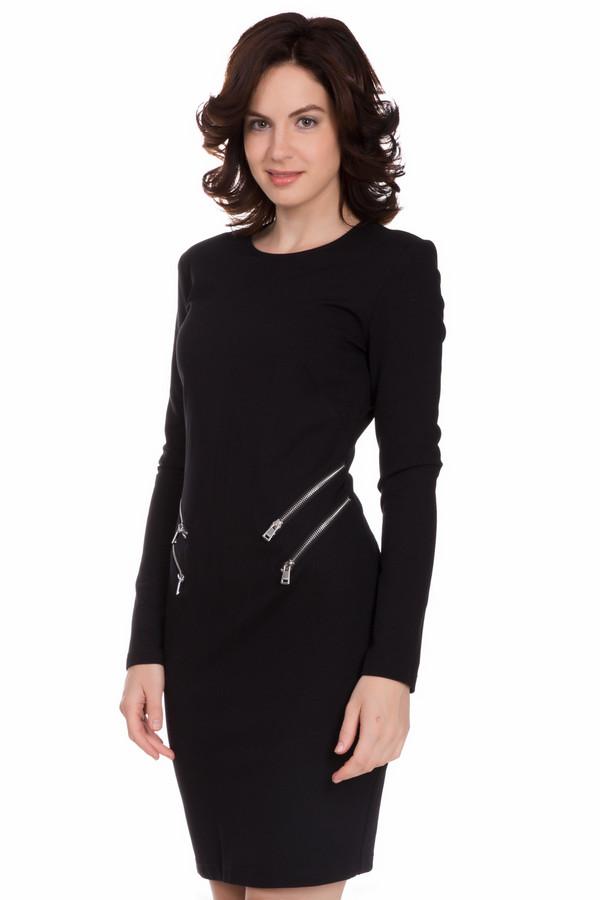 Платье OuiПлатья<br>Оригинальное женское платье Oui черного цвета. Это изделие состоит из полиамида, вискозы и эластана. Данная модель создана для осени или весны. Платье облегает фигуру. По длине выше колена. Украшено горизонтальными серебристыми двойными молниями на талии. Стильное решение для любого повода.<br><br>Размер RU: 48<br>Пол: Женский<br>Возраст: Взрослый<br>Материал: эластан 5%, полиамид 33%, вискоза 62%<br>Цвет: Чёрный