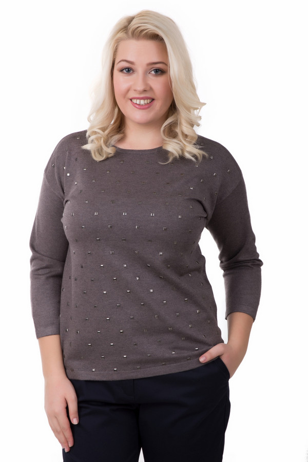 Пуловер Rabe collectionПуловеры<br>Нарядный женский пуловер Rabe collection коричневого цвета. Изготовлен из вискозы и полиамида. Весной и осенью такой пуловер будет чрезвычайно удобен. Изделие дополнено квадратными стразами спереди пуловера стального цвета. Подойдет как для ежедневной носки, так и в качестве праздничной одежды.<br><br>Размер RU: 54<br>Пол: Женский<br>Возраст: Взрослый<br>Материал: вискоза 70%, полиамид 30%<br>Цвет: Коричневый