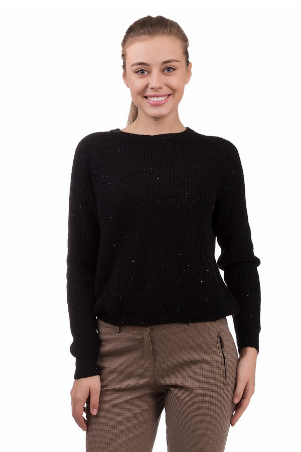 Пуловер OuiПуловеры<br>Праздничный женский пуловер Oui черного цвета. Изготовлен из полиэстера, полиамида и шерсти. Весной или осенью в нем будет комфортнее всего. Ткань имитирует спицевую вязку и дополнена редкими пайетками. Модель с длинными рукавами и горловиной, делающий акцент на женственной шее своей владелицы.<br><br>Размер RU: 44<br>Пол: Женский<br>Возраст: Взрослый<br>Материал: полиэстер 37%, полиамид 14%, шерсть 49%<br>Цвет: Чёрный
