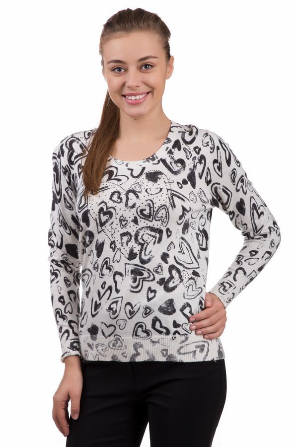Пуловер LuciaПуловеры<br>Невероятно мягкий и приятный на ощупь пуловер от бренда Lucia выполнен в белом цвете с вязанным рисунком в виде множества сердечек темно-серого цвета. Изделие дополнено круглым воротом и длинными рукавами. Ворот, манжеты и нижний кант оформлены эластичной трикотажной резинкой.<br><br>Размер RU: 48<br>Пол: Женский<br>Возраст: Взрослый<br>Материал: вискоза 50%, полиамид 40%, шерсть 5%, ангора 5%<br>Цвет: Чёрный