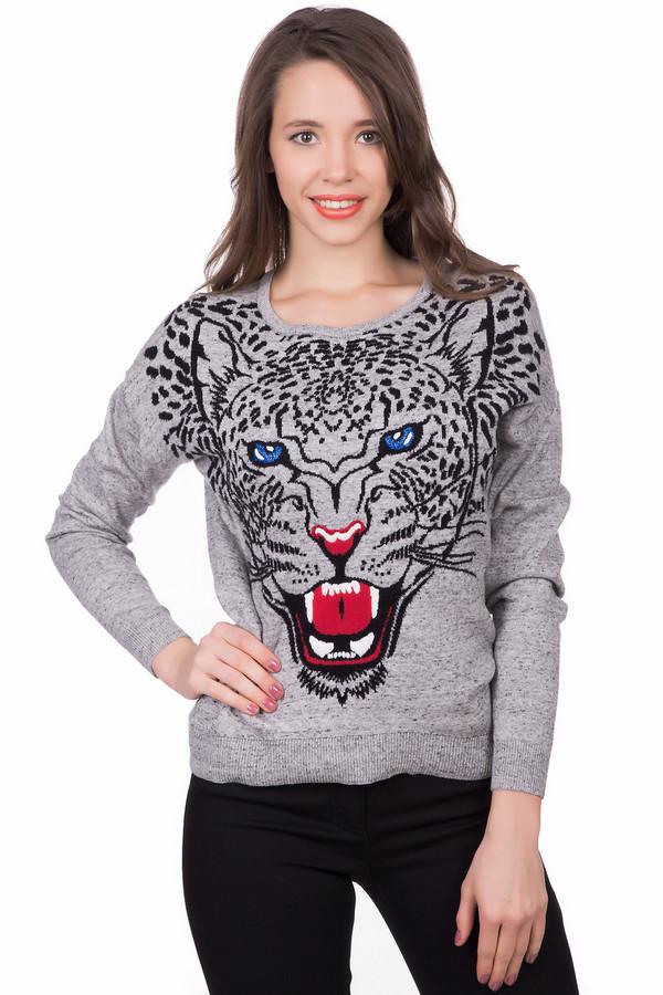 Пуловер OuiПуловеры<br>Оригинальный женский пуловер Oui серого цвета с черными, красными и синими деталями. Это изделие состоит полностью из хлопка. Модель предназначена для холодной зимней погоды. Пуловер свободного кроя. Украшен разноцветным изображением леопарда по центру. Такая вещь добавит в повседневный образ яркости.<br><br>Размер RU: 46<br>Пол: Женский<br>Возраст: Взрослый<br>Материал: хлопок 100%<br>Цвет: Разноцветный