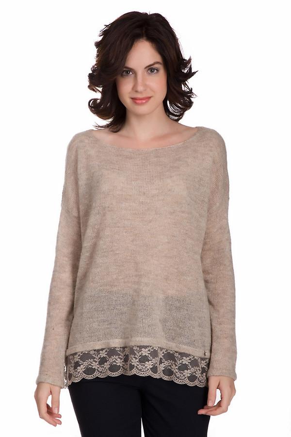 Пуловер SetПуловеры<br>Практичный женский пуловер Set бежевого цвета. Изделие состоит из полиамида, шерсти и мохера. Данная модель предназначена для осени или весны. Пуловер свободного кроя. Снизу украшен кружевными вставками. Идеально будет смотреться с узким низом. Придаст повседневному образу расслабленности и нежности.<br><br>Размер RU: 48<br>Пол: Женский<br>Возраст: Взрослый<br>Материал: полиамид 76%, шерсть 12%, мохер 12%<br>Цвет: Бежевый