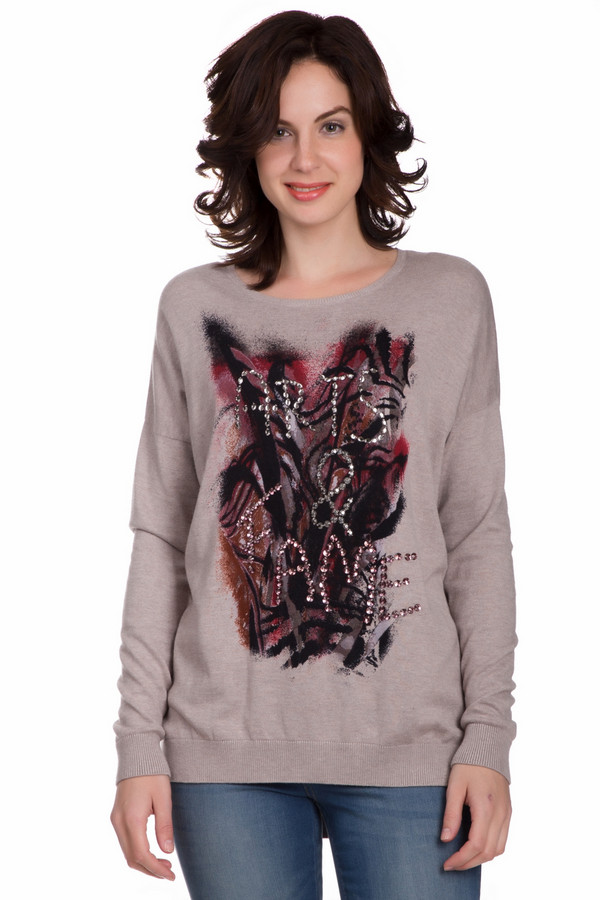 Пуловер Gerry WeberПуловеры<br>Оригинальный женский пуловер Gerry Weber бежевого цвета с черными, серыми, серебристыми и красными деталями. Это изделие состоит из хлопка, полиамида и вискозы. Данная модель предназначена для осени или весны. Пуловер свободного кроя. Украшен красивым рисунком и серебристыми камнями на нем. Добавит в повседневный образ яркости.<br><br>Размер RU: 54<br>Пол: Женский<br>Возраст: Взрослый<br>Материал: вискоза 20%, хлопок 40%, полиамид 40%<br>Цвет: Разноцветный