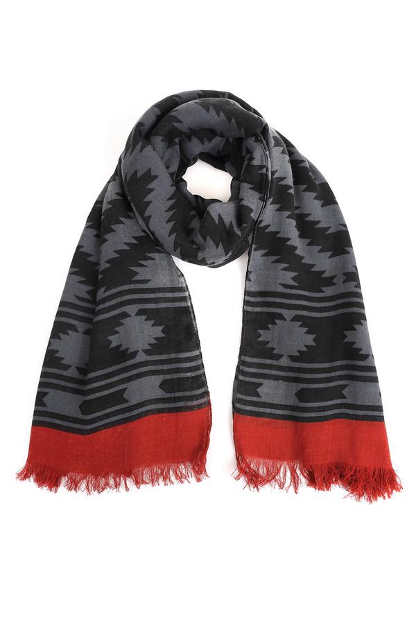 Платок SetПлатки и Палантины<br>Эффектный женский платок Set сочетает черный, серый и красный цвет. Полностью изготовлен из полиэстера. Лучше всего подходит для носки осенью и весной. Модель украшена черно-серым сложным геометрическим узором, а красная окантовка с бахромой отлично дополняет и завершает картину. Будет хорошо смотреться с разнообразной верхней одеждой.<br><br>Размер RU: один размер<br>Пол: Женский<br>Возраст: Взрослый<br>Материал: полиэстер 100%<br>Цвет: Разноцветный