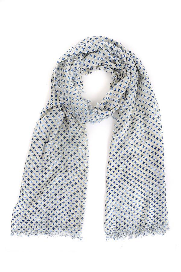 Шарф OuiШарфы<br>Уютный женский шарф Oui белого цвета с синими вставками. Полностью выполнен из полиэстера. Наиболее комфортным он будет весной или осенью. Модель декорирована маленькими синими крестиками, а необработанный край придает ей молодежной небрежности. Будет хорошо смотреться с верхней одеждой контрастных цветов.<br><br>Размер RU: один размер<br>Пол: Женский<br>Возраст: Взрослый<br>Материал: полиэстер 100%<br>Цвет: Синий