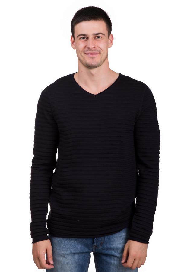 Джемпер PezzoДжемперы<br>Практичный мужской джемпер от бренда Pezzo синего цвета. Это изделие состоит из шерсти и акрила. Такая модель предназначена для осени или весны. Джемпер сидит по фигуре. Дополнен горизонтальными рельефными полосами и V-образным вырезом. Подойдет тем, кому нравится простота в одежде. Хорошо будет смотреться с темными джинсами.<br><br>Размер RU: 48<br>Пол: Мужской<br>Возраст: Взрослый<br>Материал: шерсть 50%, акрил 50%<br>Цвет: Чёрный