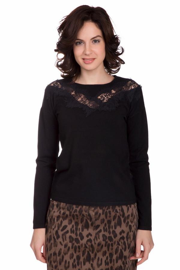 Пуловер PezzoПуловеры<br>Оригинальный женский пуловер от бренда Pezzo черного цвета. Это изделие состоит из вискозы и нейлона. Данная модель предназначена для осени или весны. Пуловер облегает фигуру. Украшен кружевной вставкой на вороте. Хорошо будет смотреться с разноцветными юбками и объемным украшением на шее. Стильный и лаконичный вариант на каждый день.<br><br>Размер RU: 46<br>Пол: Женский<br>Возраст: Взрослый<br>Материал: вискоза 80%, нейлон 20%<br>Цвет: Чёрный