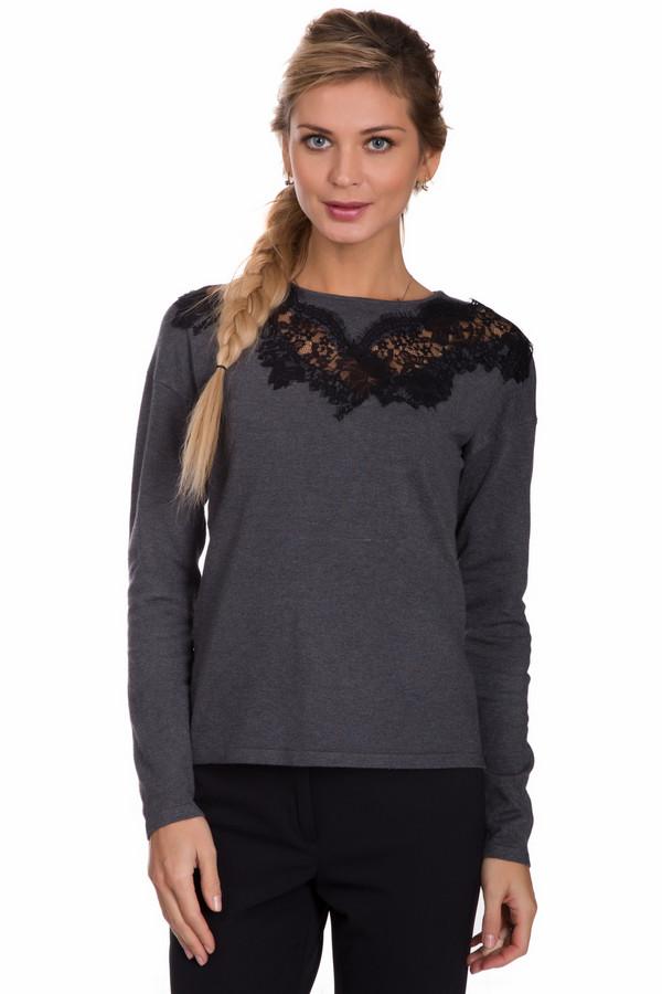 Пуловер PezzoПуловеры<br>Модный женский пуловер от бренда Pezzo серого цвета. Это изделие состоит из вискозы и нейлона. Модель создана для осеннего и весеннего сезонов. Пуловер сидит по фигуре. Дополнен кружевной черной вставкой под воротом. Одинаково хорошо сочетается с брюками и юбками. Такая вещь подойдет тем, кто любит женственные детали в одежде.<br><br>Размер RU: 54<br>Пол: Женский<br>Возраст: Взрослый<br>Материал: вискоза 80%, нейлон 20%<br>Цвет: Чёрный