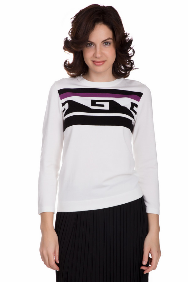 Пуловер PezzoПуловеры<br>Оригинальный женский пуловер от бренда Pezzo белого цвета с черными и фиолетовыми деталями. Данное изделие состоит из вискозы и нейлона. Эта модель предназначена для осени или весны. Пуловер свободного кроя. Украшен красивым разноцветным орнаментом. Можно сочетать с одеждой разных расцветок и стилей.<br><br>Размер RU: 48<br>Пол: Женский<br>Возраст: Взрослый<br>Материал: вискоза 80%, нейлон 20%<br>Цвет: Разноцветный