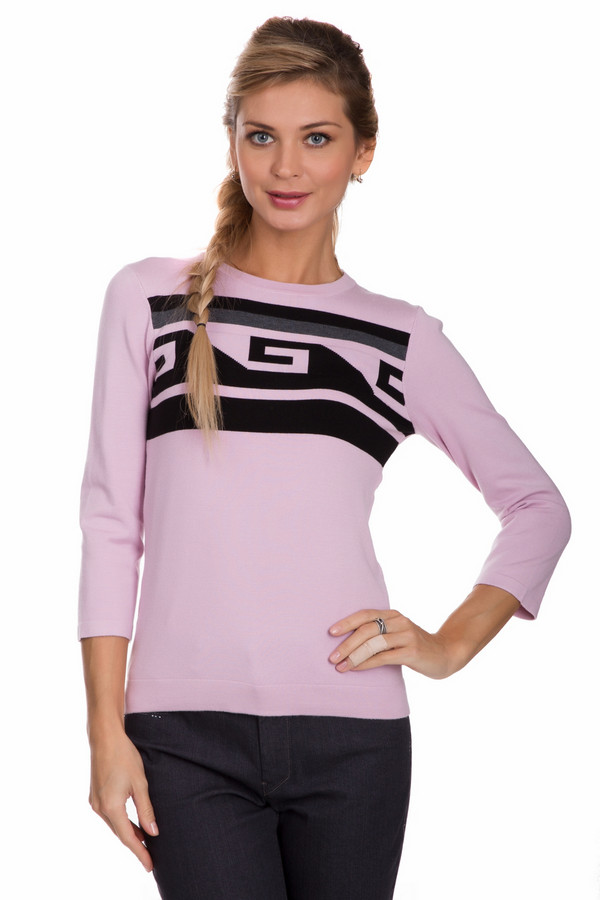Пуловер PezzoПуловеры<br>Яркий женский пуловер от бренда Pezzo розового цвета с черными и серыми деталями. Данное изделие состоит из вискозы и нейлона. Эта модель предназначена для осени или весны. Пуловер свободного кроя. Украшен красивым черным орнаментом. Рукава слегка укорочены. Можно носить с одеждой разных расцветок и стилей.<br><br>Размер RU: 42<br>Пол: Женский<br>Возраст: Взрослый<br>Материал: вискоза 80%, нейлон 20%<br>Цвет: Разноцветный