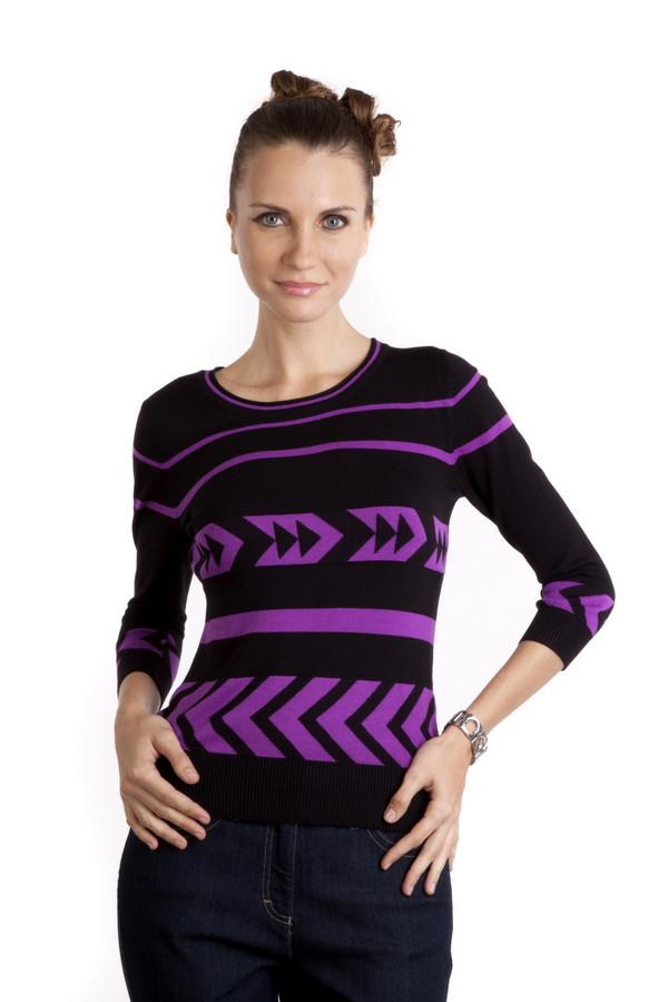 Пуловер PezzoПуловеры<br>Женский черный пуловер Pezzo приталенного кроя с оригинальным вязаным узором яркого цвета цикламен. Изделие дополнено круглым вырезом и укороченными рукавами. Изделие выполнено из высококачественного материала приятного на ощупь.<br><br>Размер RU: 44<br>Пол: Женский<br>Возраст: Взрослый<br>Материал: вискоза 82%, нейлон 18%<br>Цвет: Фиолетовый