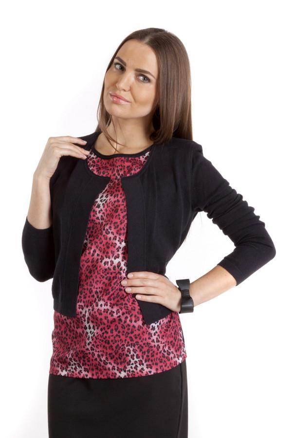 Пуловер PezzoПуловеры<br>Модный черный пуловер Pezzo прямого кроя. Изделие дополнено круглым вырезом и оригинальным оформлением вшитого топа с анималистическим принтом. Женственный пуловер с лёгкостью дополнит образ как с юбками, так и с брюками.<br><br>Размер RU: 42<br>Пол: Женский<br>Возраст: Взрослый<br>Материал: хлопок 95%, кашемир 5%<br>Цвет: Чёрный
