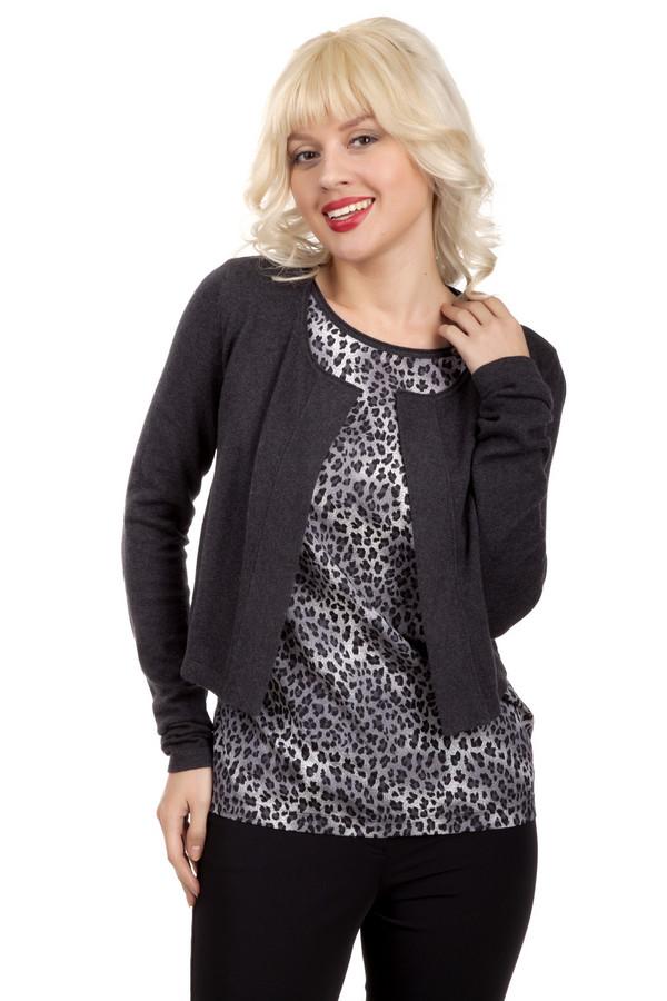 Пуловер PezzoПуловеры<br>Модный темно-серый пуловер Pezzo прямого кроя. Изделие дополнено круглым вырезом и оригинальным оформлением вшитого топа с анималистическим принтом. Женственный пуловер с лёгкостью дополнит образ как с юбками, так и с брюками.<br><br>Размер RU: 44<br>Пол: Женский<br>Возраст: Взрослый<br>Материал: хлопок 95%, кашемир 5%<br>Цвет: Серый
