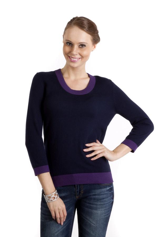 Пуловер PezzoПуловеры<br>Темно-синий женский пуловер Pezzo приталенного кроя. Изделие дополнено круглым вырезом и укороченными рукавами. Ворот, манжеты и нижний кант изделия оформленным фиолетовой трикотажной резинкой.<br><br>Размер RU: 46<br>Пол: Женский<br>Возраст: Взрослый<br>Материал: хлопок 95%, кашемир 5%<br>Цвет: Фиолетовый