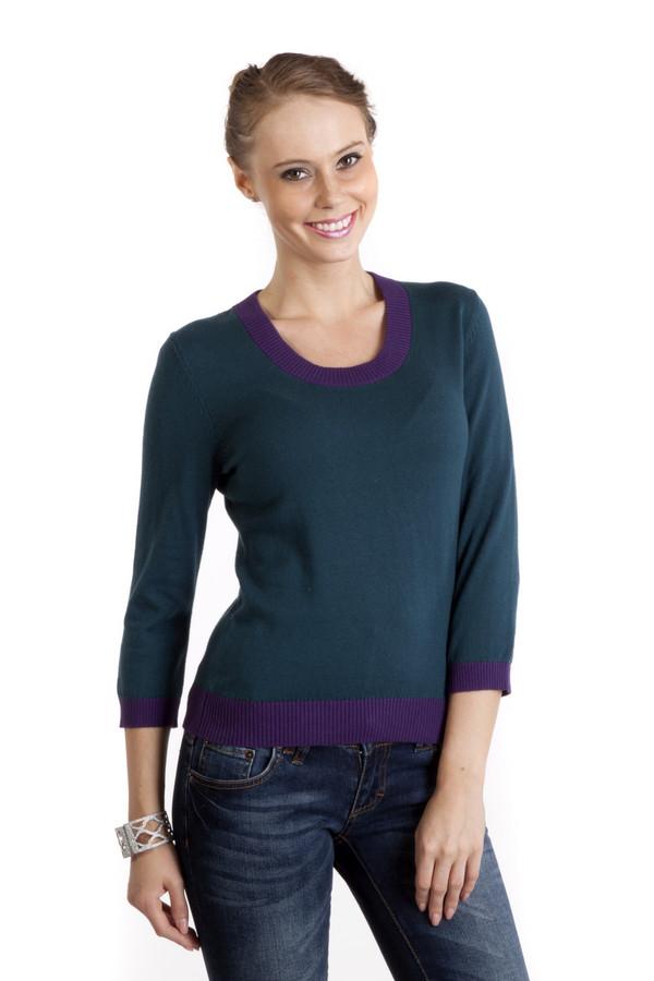 Пуловер PezzoПуловеры<br>Синий женский пуловер Pezzo приталенного кроя. Изделие дополнено круглым вырезом и укороченными рукавами. Ворот, манжеты и нижний кант изделия оформленным фиолетовой трикотажной резинкой.<br><br>Размер RU: 50<br>Пол: Женский<br>Возраст: Взрослый<br>Материал: хлопок 95%, кашемир 5%<br>Цвет: Синий
