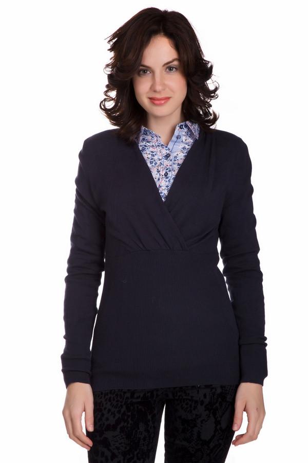 Пуловер CommaПуловеры<br>Оригинальный женский пуловер Comma синего цвета. Данное изделие состоит из вискозы, полиамида и эластана. Такая вещь предназначена для весны или осени. Пуловер сидит по фигуре. Дополнен складками под грудью. Можно носить как самостоятельную единицу или поверху блузы, топа. Отличный вариант для работы.<br><br>Размер RU: 46<br>Пол: Женский<br>Возраст: Взрослый<br>Материал: эластан 2%, полиамид 17%, вискоза 81%<br>Цвет: Синий