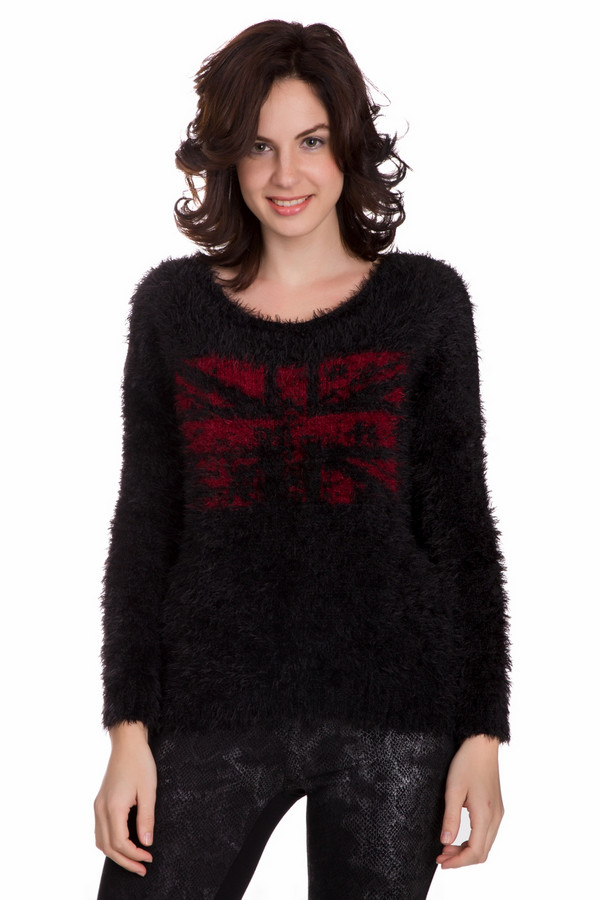 Пуловер CommaПуловеры<br>Модный женский пуловер Comma черного цвета. Это изделие состоит из полиэстера, хлопка и полиакрила. Такая модель идеально подойдет для осени или весны. Пуловер свободного кроя. Дополнен объемным мехом спереди. Украшен изображением британского флага красным цветом. Простое и модное решение на каждый день.<br><br>Размер RU: 46<br>Пол: Женский<br>Возраст: Взрослый<br>Материал: хлопок 30%, полиэстер 40%, полиакрил 30%<br>Цвет: Красный
