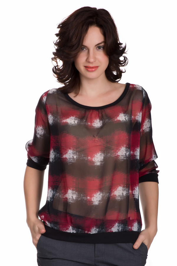 Блузa CommaБлузы<br>Утонченная женская блуза Comma черного цвета с белыми и бордовыми деталями. Это изделие состоит полностью из полиэстера. Блуза свободного кроя. Дополнено резинкой снизу. Рукава укороченные. Украшена разноцветным рисунком в большую клетку. Идеально смотрится с узкими брюками или юбками темных тонов.<br><br>Размер RU: 44<br>Пол: Женский<br>Возраст: Взрослый<br>Материал: полиэстер 100%<br>Цвет: Разноцветный