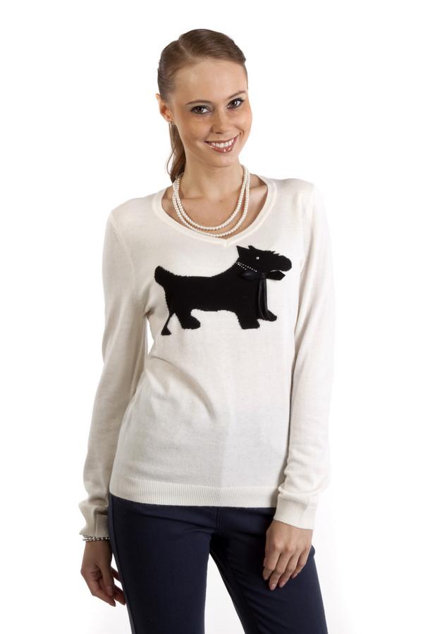Пуловер PezzoПуловеры<br>Стильный пуловер Pezzo представлен в двух пастельных оттенках, белый и нежно-розовый. Изделие дополнено v-образным вырезом и декорирована рисунком в виде собачки. Ворот, манжеты и нижний кант оформлены трикотажной резинкой. Пуловер выполнен из высококачественного материала приятного на ощупь.<br><br>Размер RU: 48<br>Пол: Женский<br>Возраст: Взрослый<br>Материал: полиэстер 30%, нейлон 20%, шерсть 5%, вискоза 40%, ангора 5%<br>Цвет: Чёрный