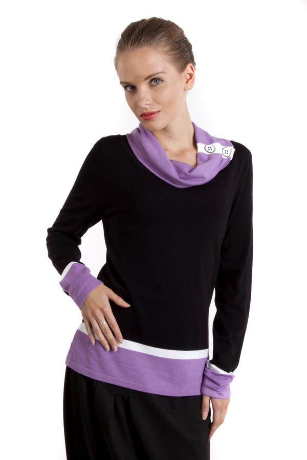 Пуловер PezzoПуловеры<br>Оригинальный черный пуловер Pezzo прямого кроя. Изделие дополнено воротником-хомут декорированный яркой фурнитурой. Ворот, манжеты и нижний кант оформлены яркими фиолетовыми и белыми горизонтальными полосками.<br><br>Размер RU: 44<br>Пол: Женский<br>Возраст: Взрослый<br>Материал: вискоза 82%, нейлон 18%<br>Цвет: Разноцветный