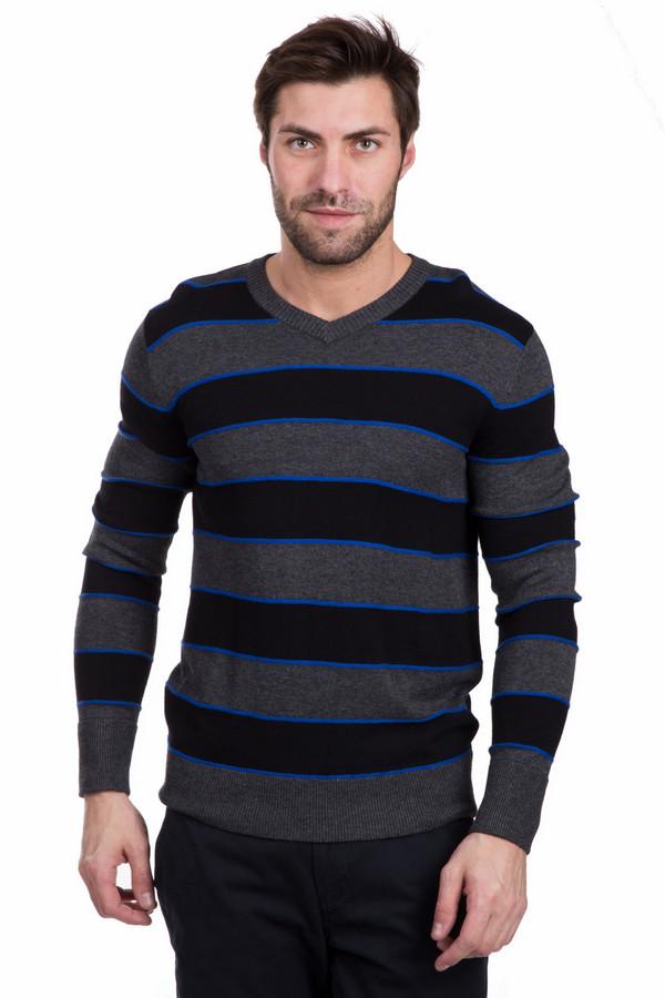 Джемпер PezzoДжемперы<br>Красивый мужской джемпер Pezzo сочетает в себе яркий синий, черный и серый цвета. Изделие выполнено из полиамида, вискозы и шерсти. Весной или осенью будет наиболее приятным в носке. Модель декорирована широкими серыми и черными горизонтальными полосами и узкими яркими синими полосочками между ними. Будет наиболее уместен в носке с джинсами или брюками.<br><br>Размер RU: 46<br>Пол: Мужской<br>Возраст: Взрослый<br>Материал: вискоза 55%, полиамид 22%, шерсть 23%<br>Цвет: Разноцветный