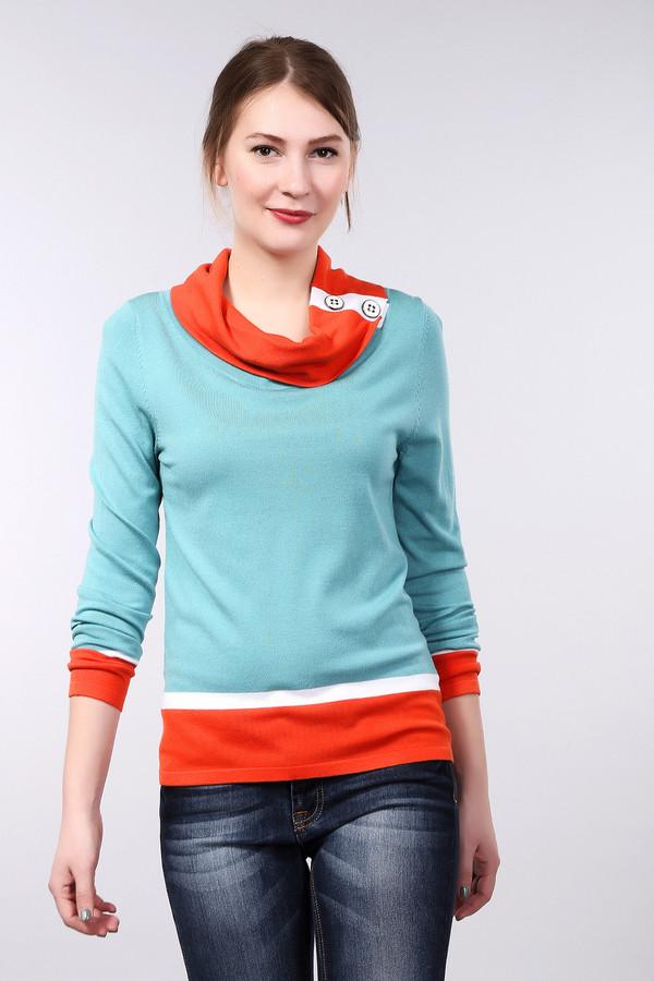 Пуловер PezzoПуловеры<br>Оригинальный небесно-голубого цвета пуловер Pezzo прямого кроя. Изделие дополнено воротником-хомут декорированный яркой фурнитурой. Ворот, манжеты и нижний кант оформлены ярким оранжевыми и белыми горизонтальными полосками.<br><br>Размер RU: 44<br>Пол: Женский<br>Возраст: Взрослый<br>Материал: вискоза 82%, нейлон 18%<br>Цвет: Разноцветный